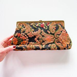 Vintage Vendi Paisley Floral Clutch Handbag